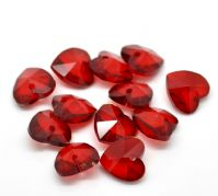 "5 Red Crystal Glass Faceted Heart Drop Charm /  Pendants 14 x 14 mm(4/8""x 4/8"")"
